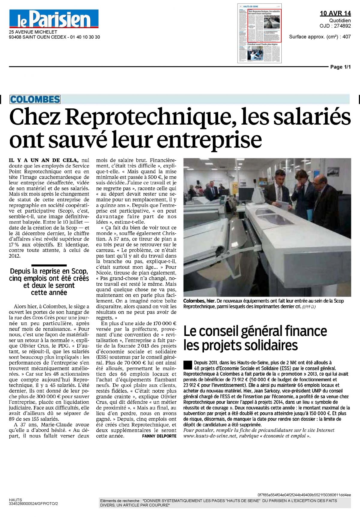 1. Le parisien 10 avril 2014